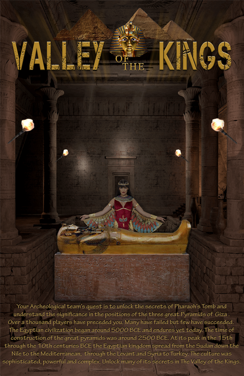 Image of Valley of the Kings escape room with an Egyptian Goddess in a tomb