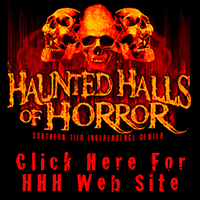 Haunted Halls of Horror with flames and skulls, that says click here for HHH web site.