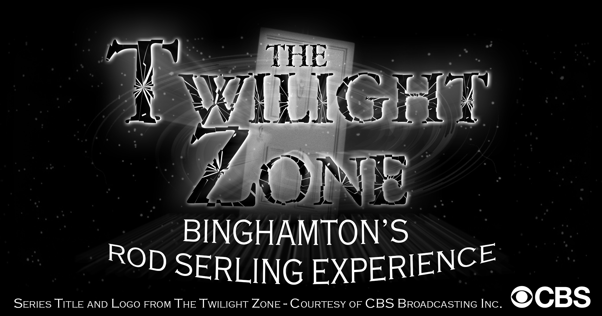 Image of the twilight zone escape room with shadowy letters that read twilight zone